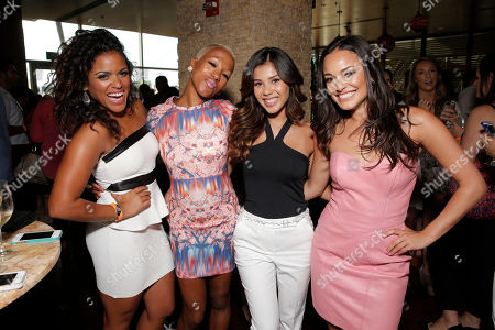 Vivan Lamolli, Choreographer Reina Hidalgo, Ashley Campuzano and Alexandra Rodriguez attend the after party for Hulu's East Lost High Season 2 Premiere at Landmark Theater on Wednesday July, 9 2014, in Los Angeles