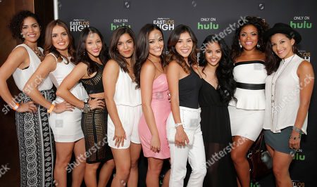 IMAGE DISTRIBUTED FOR HULU - From left, Andrea Sixtos, Vannessa Vasquez, Danielle Vega, Alicia Sixtos, Alexandra Rodriguez, Ashley Campuzano, Cassandra Ventura, Vivian Lamolli and Tracy Perez attend Hulu's East Lost High Season 2 Premiere at Landmark Theater, in Los Angeles