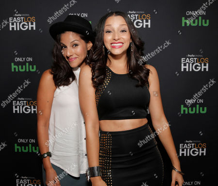 Danielle Vega and Tracy Perez attend Hulu's East Lost High Season 2 Premiere at Landmark Theater on Wednesday July, 9 2014, in Los Angeles