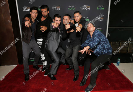 Ray Diaz, Robert Paul Taylor, Rene Alvarado, Gabe Chavarria, Rick Mancia and Jorge Diaz attend Hulu's East Lost High Season 2 Premiere at Landmark Theater on Wednesday July, 9 2014, in Los Angeles
