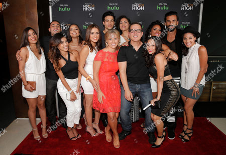 Alicia Sixtos, Gabe Chavarria, Alexandra Rodriguez, Ashley Campuzano, Vannessa Vasquez, Ray Diaz, Katie Elmore Mota, Andrea Sixtos, Carols Portugal, Danielle Vega, Vivian Lamolli, Robert Paul Taylor and Tracy Perez attend Hulu's East Lost High Season 2 Premiere at Landmark Theater on Wednesday July, 9 2014, in Los Angeles