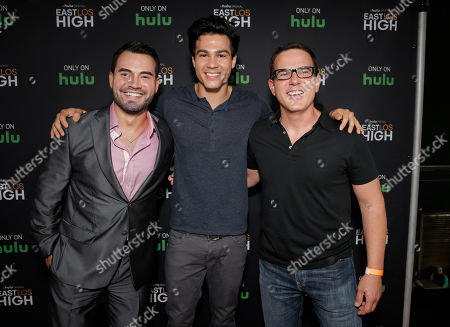 Rene Alvarado, Ray Diaz and Co-Creator/Director Carlos Portugal attend Hulu's East Lost High Season 2 Premiere at Landmark Theater on Wednesday July, 9 2014, in Los Angeles
