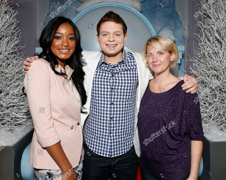 """From left, Keke Palmer, Sean Berdy and Amber Zion celebrate the December 11th Blu-ray, DVD and Digital HD release of ICE AGE: CONTINENTAL DRIFT at the Beverly Center in Los Angeles on .Twentieth Century Fox Home Entertainment and Taubman Shopping Centers across the country have partnered to commemorate """"National Signing Santa Day"""" and the industry first Blu-ray special feature with picture-in-picture sign language interpretation"""