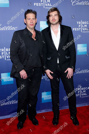 "Victor Kubicek and Derek Anderson attend the premiere of ""In God We Trust"" during the 2013 Tribeca Film Festival at the SVA Theatre on in New York"