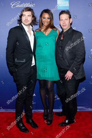 "Stock Image of Victor Kubicek, Cynthia Bailey, and Derek Anderson attend the premiere of ""In God We Trust"" during the 2013 Tribeca Film Festival at the SVA Theatre on in New York"