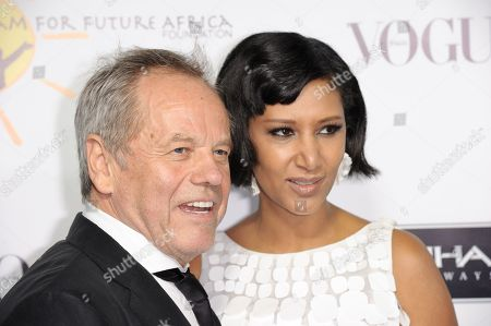Wolfgang Puck, left, and Gelila Puck arrive at the inaugural Dream for Future Africa Foundation Gala at Spago on in Beverly Hills, Calif