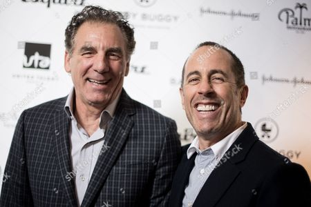 Michael Richards, left, and Jerry Seinfeld attend the Inaugural Los Angeles Baby Buggy Fatherhood Lunch at Palm Restaurant, in Beverly Hills, Calif