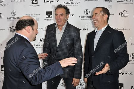 From left, Jason Alexander, Michael Richards and Jerry Seinfeld attend the Inaugural Los Angeles Baby Buggy Fatherhood Lunch at Palm Restaurant, in Beverly Hills, Calif