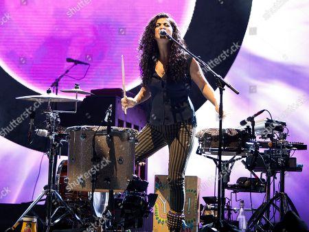 Mona Tavakoli of all-girl band Raining Jane, performed in concert with Jason Mraz at the Fox Theatre on Tuesday, S, in Atlanta, Ga