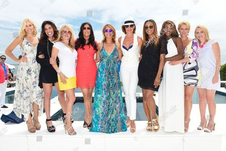 Stock Picture of L-R) Aviva Drescher, Cindy Barshop, Ramona Singer, Patti Stanger, Jill Zarin, LuAnn de Leeseps Cynthia Bailey, Carla Stephens Dorinda Medley, and Andrea Canning attend Jill Zarin's 3rd Annual Private Luxury Benefit Luncheon in Southampton, in New York