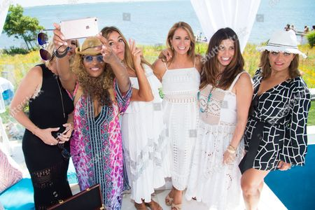 Vicki Gunvalson, from left, Cynthia Bailey, Kelly Killoren Bensimon, Jill Zarin, Cindy Barshop, and Kathy Wakile attend Jill Zarin's 4th Annual Luxury Benefit Luncheon in Southampton, in New York