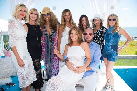 Kristen Taekman, from left, Vicki Gunvalson, Cynthia Bailey, Kelly Killoren Bensimon, Jill Zarin, Bobby, Zarin, Cindy Barshop, Kathy Wakile, and Ramona Singer attend Jill Zarin's 4th Annual Luxury Benefit Luncheon in Southampton, in New York