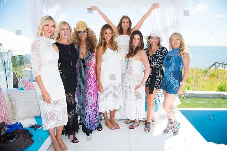 Kristen Taekman, from left, Vicki Gunvalson, Cynthia Bailey, Kelly Killoren Bensimon, Jill Zarin, Cindy Barshop, Kathy Wakile, and Ramona Singer attend Jill Zarin's 4th Annual Luxury Benefit Luncheon in Southampton, in New York