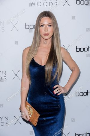 Kristine Elezaj arrives at the Jordyn Woods x boohoo.com Launch Event at the Neuehouse Hollywood, in Los Angeles