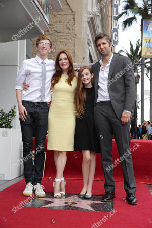 Caleb Freundlich, Julianne Moore, Liv Freundlich and Bart Freundlich at Julianne Moore's Star Ceremony on the Hollywood Walk of Fame, on Thursday, Oct, 3, 2013 in Hollywood
