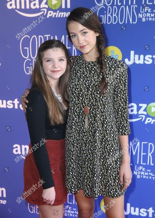"Stock Image of Chloe Csengery and Emma Fuhrmann attend Just Jared Jr.'s Fall Fun Day celebrating Season 2 of Amazon Prime's ""Gortimer Gibbon's Life on Normal Street"", in Los Angeles"