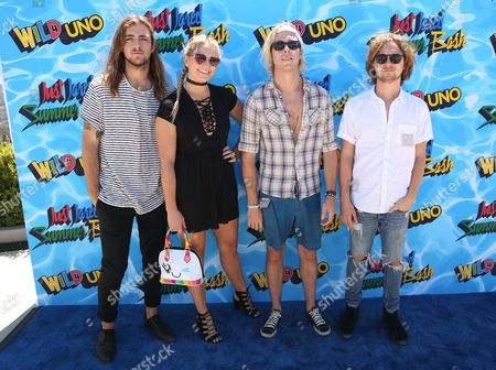 Rocky Lynch, from left, Rydel Lynch, Riker Lynch, Ellington Ratliff of R5 arrive at the Just Jared 4th Annual Summer Bash presented by Uno, in Beverly Hills, Calif