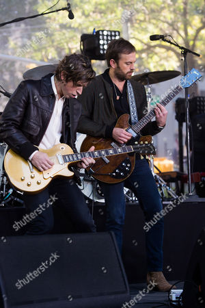 """Matthew Followill, left, and Caleb Followill from the band Kings of Leon perform on NBC's """"Today"""" show at Rockefeller Plaza, in New York"""