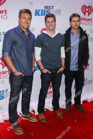 From left, Zack Kalter, Drew Kenney and Robert Graham arrive at KIIS 102.7 Jingle Ball held at Staples Center, on Friday, December, 6, 2013 in Los Angeles, CA