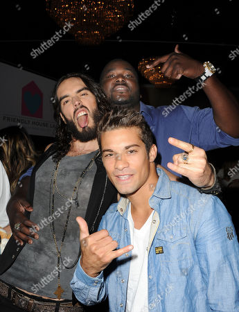 Russell Brand, at left, Hector David Jr., and Quentin Aaron seen at the LA Friendly House Luncheon on in Beverly Hills, Calif