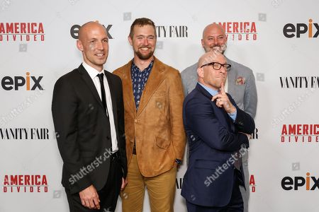 "Richard Rowley, from left, Lucian Read, Dave O'Connor, and Solly Granatstein arrive at the LA Premiere of ""America Divided"" at The Billy Wilder Theater, in Westwood, Calif"