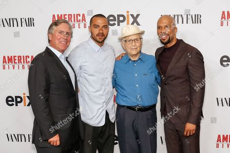 "Mark S. Greenberg, from left, Jesse Williams, Norman Lear, and Common arrive at the LA Premiere of ""America Divided"" at The Billy Wilder Theater, in Westwood, Calif"