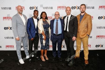 "Dave O'Connor, from left, Justin Talley, Lajun Montgomery Tabron, Solly Granatstein, Richard Rowley, and Lucian Read arrive at the LA Premiere of ""America Divided"" at The Billy Wilder Theater, in Westwood, Calif"