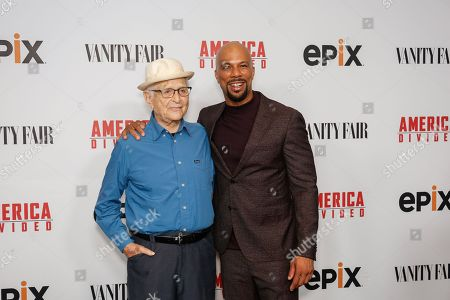"Norman Lear, left, and Hip Hop artist Common arrive at the LA Premiere of ""America Divided"" at The Billy Wilder Theater, in Westwood, Calif"