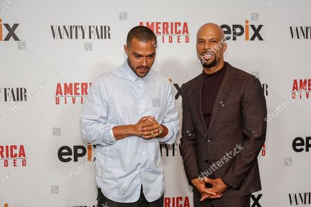"Jesse Williams, left, and Hip Hop artist Common arrive at the LA Premiere of ""America Divided"" at The Billy Wilder Theater, in Westwood, Calif"
