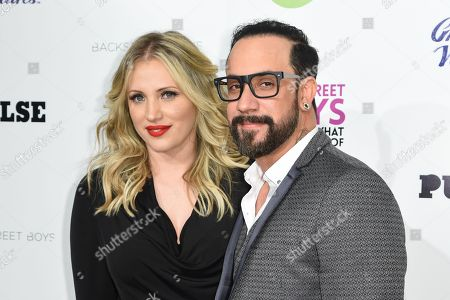 Rochelle Deanna Karidis, left and A.J. McLean arrive at the Backstreet Boys: Show â?˜Em What You're Made Of premiere at the Arclight Cinemas - Cinerama Dome, in Los Angeles
