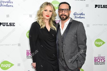 Rochelle Deanna Karidis, left and A.J. McLean arrive at the â?œBackstreet Boys: Show â?˜Em What Youâ?™re Made Ofâ?? premiere at the Arclight Cinemas - Cinerama Dome, in Los Angeles