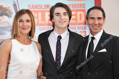 """From left, Brenda Strong, Zak Henri, and Tom Henri arrives at the LA Premiere of """"Blended"""" held at the TCL Chinese Theatre, in Los Angeles"""