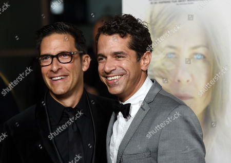 """Ben Barnz, producer of """"Cake,"""" poses with his brother Daniel Barnz, the film's director, at the premiere of the film at Arclight Cinemas, in Los Angeles"""
