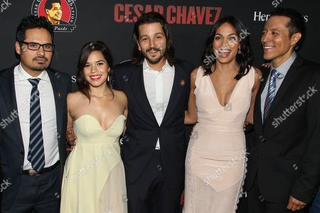 From left, actors Michael Pena, America Ferrera, director Diego Luna, Rosario Dawson and Yancey Arias attend the premiere of Pantelion Films and Participant Media's 'Cesar Chavez' at TCL Chinese Theatre on in Los Angeles