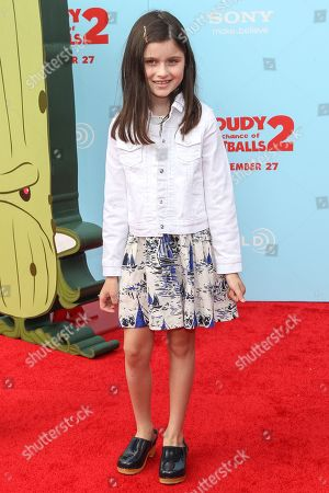 "Stock Picture of Actress Katie Silverman arrives at the premiere of ""Cloudy with a Chance of Meatballs 2"" at the Regency Village Theatre on in Los Angeles"