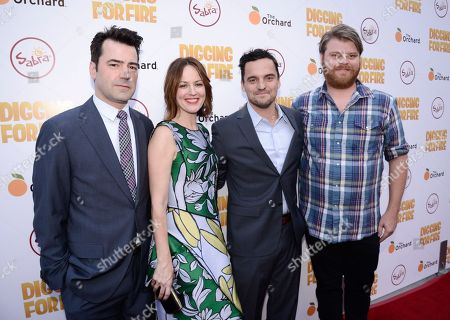 """From left to right, actor Ron Livingston, actress Rosemarie DeWitt, actor Jake Johnson, and actor Steve Berg attend the Los Angeles premiere of the feature film """"Digging For Fire"""" in Los Angeles on"""