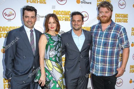 From left, Ron Livingston, Rosemarie DeWitt, Jake Johnson, and Steve Berg attends the premiere of 'Digging for Fire' at the Arclight Cinema on in Los Angeles