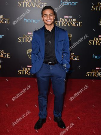 """Nathaniel Potvin arrives at the Los Angeles premiere of """"Doctor Strange"""" at the TCL Chinese Theatre on"""