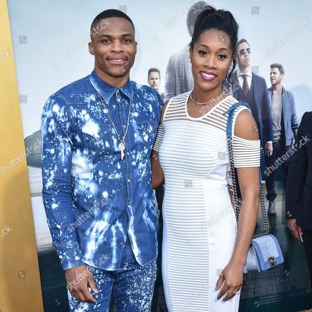 """Russell Westbrook, left and Nina Earl arrive at the LA Premiere Of """"Entourage"""" at the Regency Village Theatre, in Los Angeles"""