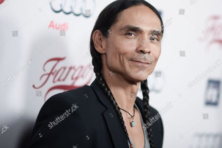 "Actor Zahn McClarnon arrives at the LA Premiere of ""Fargo"" Season two, at Arclight Cinemas Hollywood in Los Angeles"