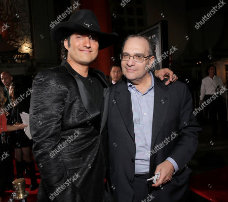 "Director Robert Rodriguez (L) and executive producer Bob Weinstein attends the Los Angeles premiere of ""Sin City: A Dame To Kill For"" at the TCL Chinese Theatre on in Los Angeles"