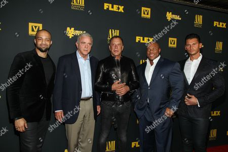 """From left, producers Edwin Mejia, Jerome Gray, actor Mickey Rourke, bodybuilder Phil Heath, and director/producer Vlad Yudin arrive at the premiere of """"Generation Iron"""" at the Chinese 6 Theaters on in Los Angeles"""