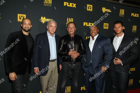 """From left, producers Edwin Mejia, Jerome Gray, actor Mickey Rourke, bodybuilder Phil Heath, and director/producer Vlad Yudin arrive at the premiere of """"Generation Iron"""" at the Chinese 6 Theatres on in Los Angeles"""