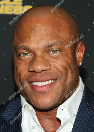 """Stock Image of Bodybuilder Phil Heath arrive at the premiere of """"Generation Iron"""" at the Chinese 6 Theatres on in Los Angeles"""