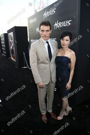 "From left, cast member Rufus Sewell and Ami Komai arrive for the premiere of ""Hercules"" held at the TCL Chinese Theatre, in Los Angeles, Calif"