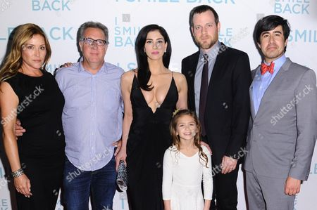 "Writer Paige Dylan, from left, producer Richard Arlook, actors Sarah Silverman, Shayne Coleman, director Adam Salky, and producer Daniel Hammond attends the LA Premiere of ""I Smile Back"" held at ArcLight Hollywood, in Los Angeles"