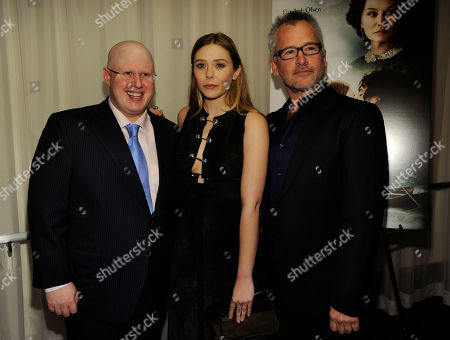 "Charlie Stratton, right, writer/director of ""In Secret,"" poses with cast members Matt Lucas, left, and Elizabeth Olsen at the premiere of the film, in Los Angeles"