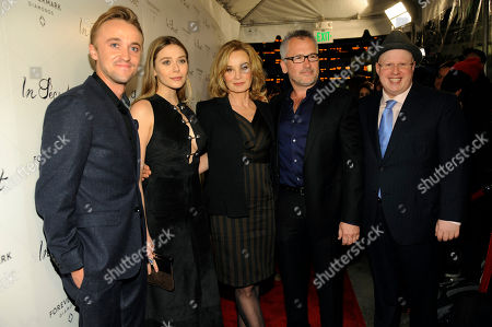 "Stock Image of Charlie Stratton, second from right, writer/director of ""In Secret,"" poses with cast members, from left, Tom Felton, Elizabeth Olsen, Jessica Lange and Matt Lucas at the premiere of the film, in Los Angeles"