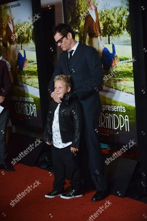 "Johnny Knoxville, rear and Jackson Nicoll arrive at the premiere of ""Jackass Presents Bad Grandpa"" at the TCL Chinese Theatre on in Los Angeles"