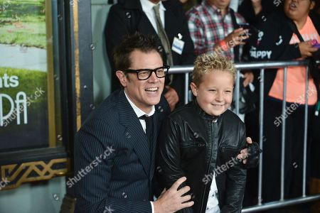 "Johnny Knoxville, right and Jackson Nicoll arrive at the premiere of ""Jackass Presents Bad Grandpa"" at the TCL Chinese Theatre on in Los Angeles"